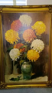 yellow, red, and white Chrysanthemum flowers paint Browns Summit, 27214