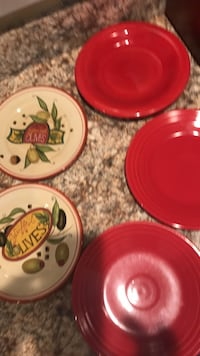 Red and white ceramic dinnerware set Long Branch, 07740