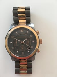 round gold Michael Kors chronograph watch with link bracelet Carlsbad, 92008