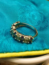 Beautiful 925 stamped Silver and white gold filled Muti Sapphire Ring / Size #5 NEW Jewelry Alexandria, 22311