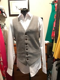 gray button-up vest and white button-up dress shirt Falls Church, 22041