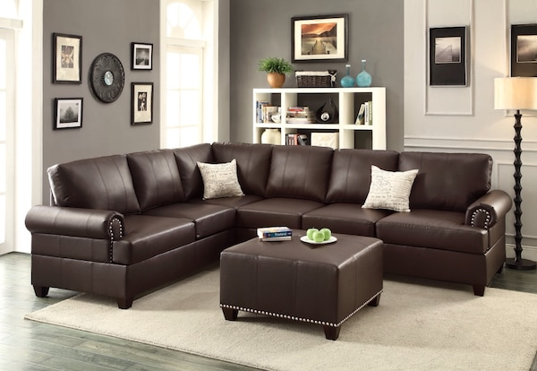 Modern Reversible Loveseat Wedge Corner Couch Sectional Sofa W Stud Trim Espresso Bonded Leather W Ottoman