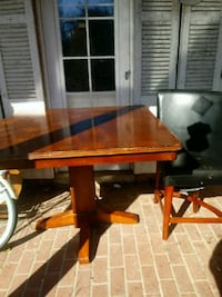 rectangular brown wooden table with two chairs 69 km
