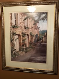 Brown wooden framed painting 46x38. Has a crack in the glass   Ancaster, L9G 1P9