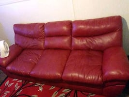 Red leather couch USED and loveseat PICK ONLY