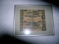 Two Confederate Ten Dollar Bills in a Nice Frame Springfield