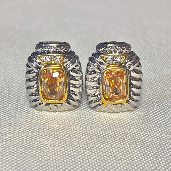 Vintage Sterling Silver Citrine Earrings 0e1a8b35-9a2a-415a-8860-3baeba40f5d9