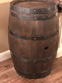 Used Full Size Wine Barrel With Gun Metal Black Rings For Sale In