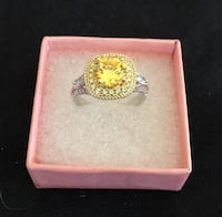 SUPER SHINING CHAMPAGNE AAA CZ RING IN WHITE GOLD FILLED & YELLOW GOLD FILLED SZ. 7 Sparks, 89441