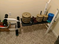 Weights set, bar and bench