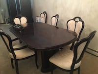Oval brown wooden dining table with chairs set Poughkeepsie