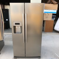 stainless steel side-by-side refrigerator with dispenser Grand Prairie, 75052
