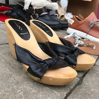 black-and-brown Aldo leather open-toe wedge sandals Richmond Hill, L4C 4M3