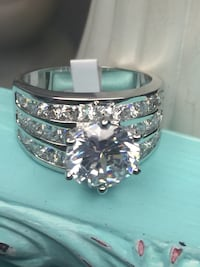 18k White Gold Filled Engagement Ring Size 6,7,9