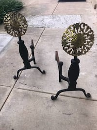 Colonial Style Iron and Brass Medallion Andiron Set  Excellent Condition *Make me an offer* Annandale