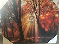 silhouette of trees painting wall decor