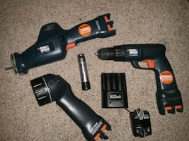 Black & Decker booster pack cordless flashlight, drill, and Sawzall