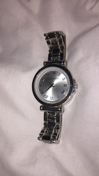 round silver analog watch with link bracelet Guelph, N1E