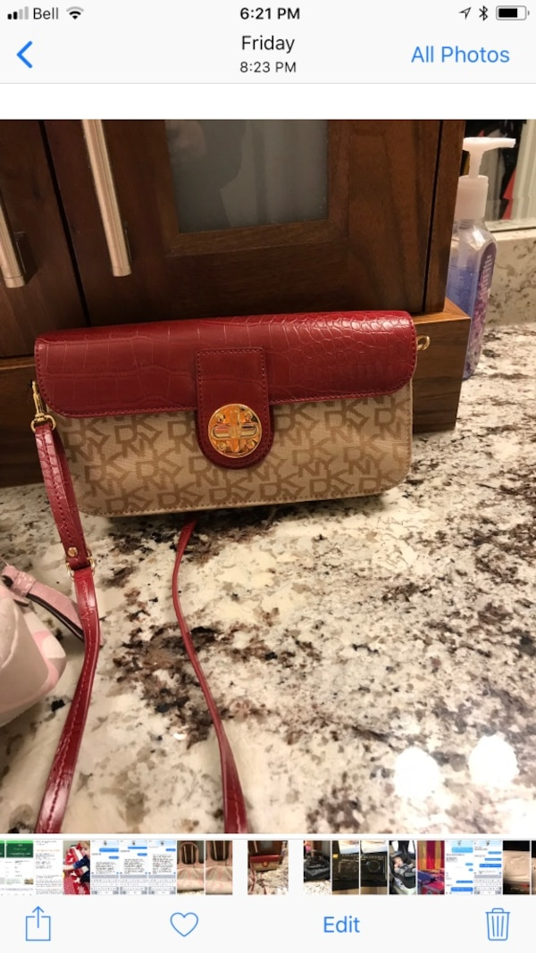 red and brown leather sling bag screen shot