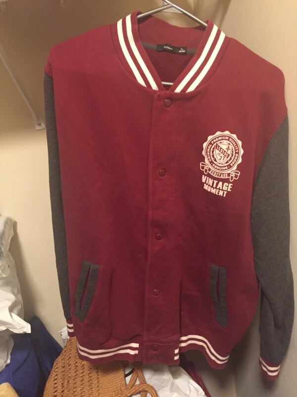 red and white letterman jacket