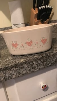 White and pink floral ceramic bowl Wooster, 44691