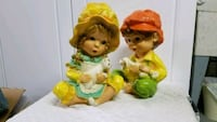 Chalkware boy/girl ceramic figurines Columbia