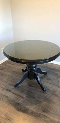 "42"" Round Pedestal Glass Top Kitchen Table"