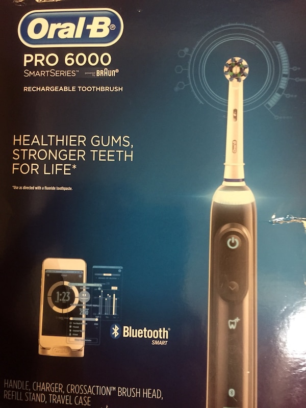 black and gray Oral-B Pro 6000 rechargeable toothbrush box