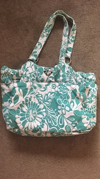 green and white floral tote bag