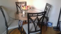 round glass top table with four chairs dining set Brampton, L6S