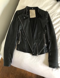 Black leather jacket (woman's ) size small Montréal, H4M 1M9