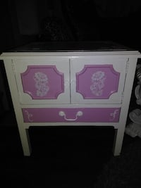 Handpainted side table or TV stand