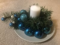 pillar candle with green leaves and bauble decors Calgary, T3K 4L7