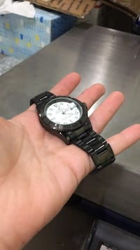 round black chronograph watch with link bracelet Gaithersburg, 20879