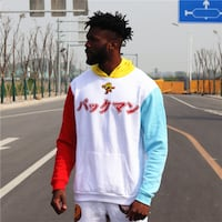 ZACPOC ACADEMIA COLOR BLOCK KANJI HOODIE PULLOVER WITH GRAPHIC CHEST