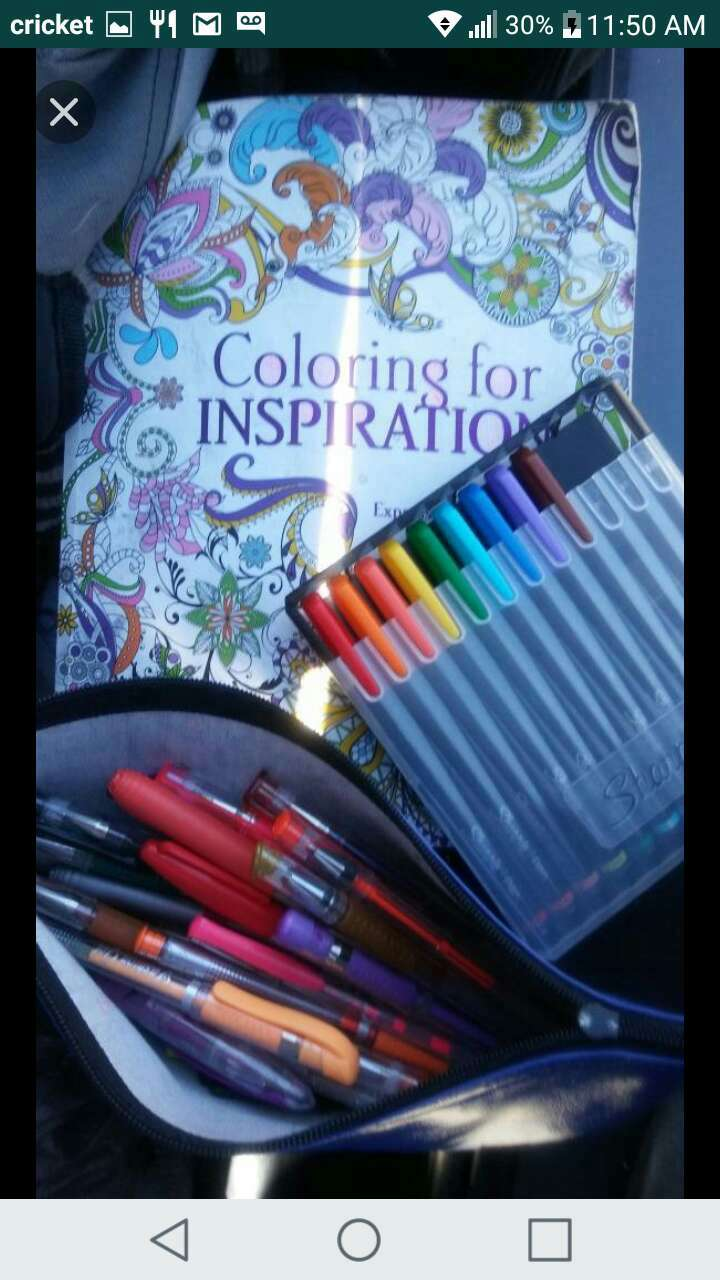 Adult Coloring book with gel pens and markers