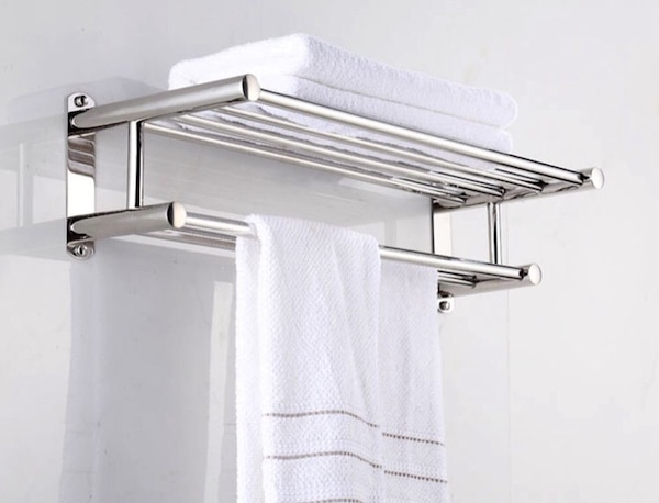 Used Stainless Steel Double Towel Bar 23 inch wih 5 Hooks ,bathroom ...