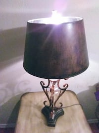 black metal table lamp base with brown lampshade Mesquite, 75150