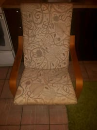 brown wooden framed white padded armchair Montréal, H8P 3E5