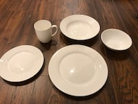 5-piece white ceramic dinnerware set
