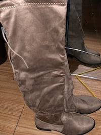 Pair of size 10 taupe suede thigh-high boots Harrisburg, 17104