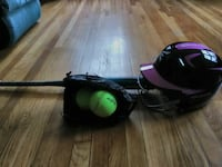 black and pink  football helmet, bat & softball in