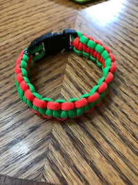 Green and red beaded bracelet