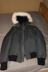 100% authentic moose knuckle bomber jacket, dark grey with white fur!! Bolton, L7E 1X6