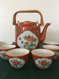 Beautiful Antique Hand Painted Canton Ware Teapot and Cups Jurupa Valley, 92509