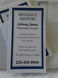 Used Bruzeaus Painting Business Card For Sale In Baton Rouge Letgo