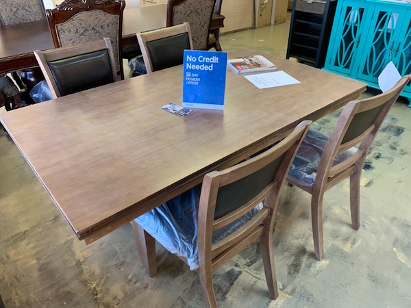 Real wood 5pc dining room table set with chairs brand new ...