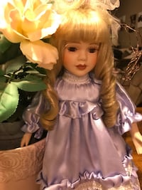 Pretty Blonde Porcelain Doll with Lavender Satin lace dress Gainesville, 20155