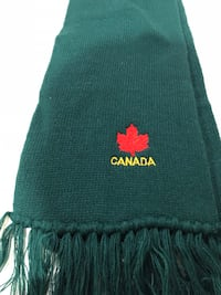green scarf and head warmer set