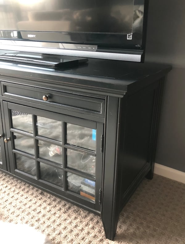 Black TV Stand/Media Console Solid Wood 4